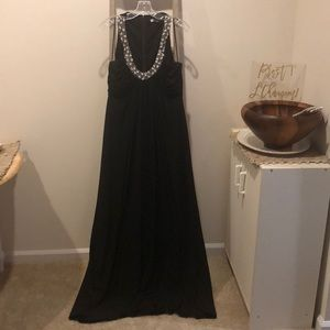 Beaded black evening gown
